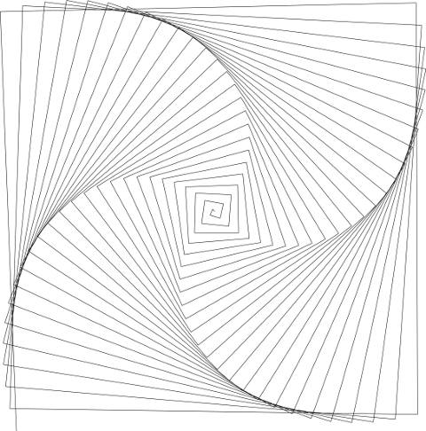 Projects - BlueCapra - Result of the CorelDraw VisualBasic macro to produce a spiral - created by Alan Reeves