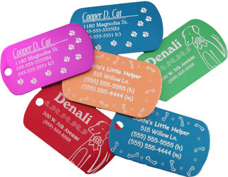 Laser etching on pet tags
