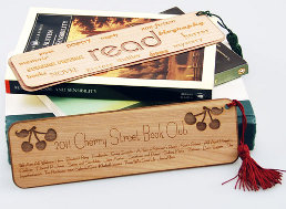 Laser etched wood bookmark