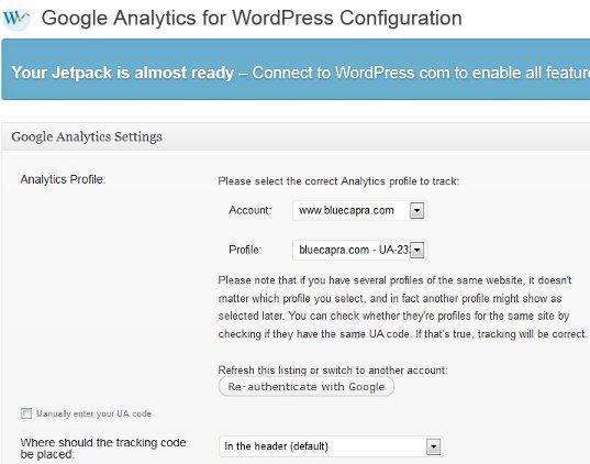 Plugin - Google Analytics for WordPress