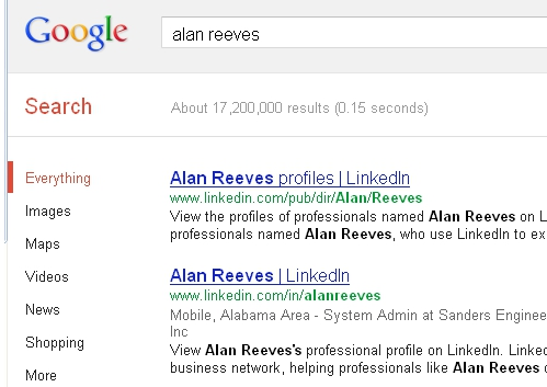 1st on Google - 4th week - Alan Reeves - I'm at 2nd place