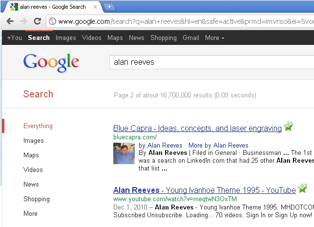 1st on Google - Search for Alan Reeves