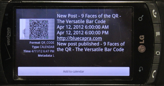 9 faces of the QR - Calendar Event - Result
