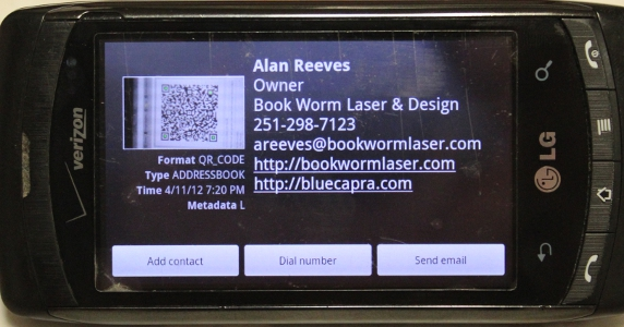 9 faces of the QR - Contact Information - vCard - Result