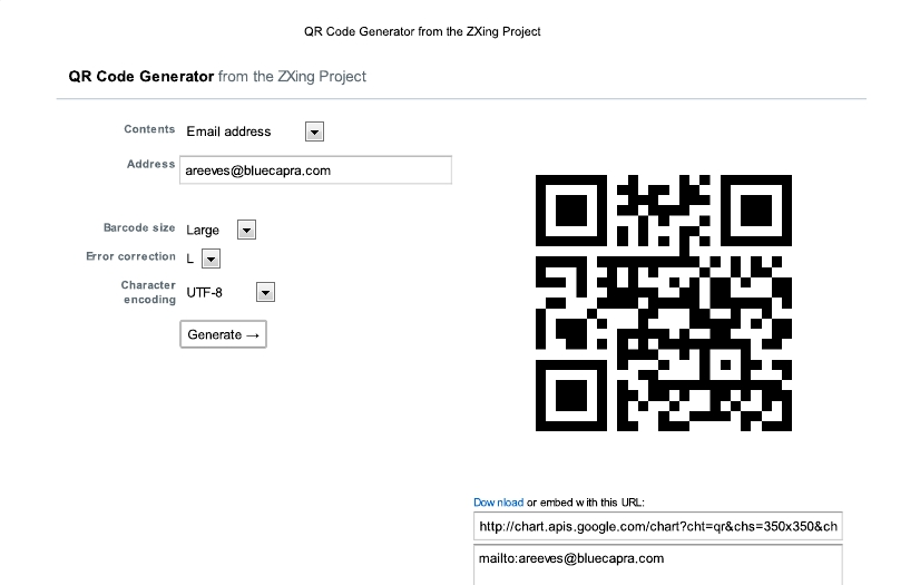9 faces of the QR - Email address - Screenshot