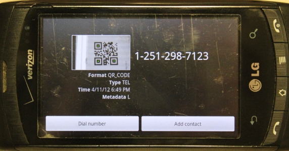 9 faces of the QR - Phone Number - Result