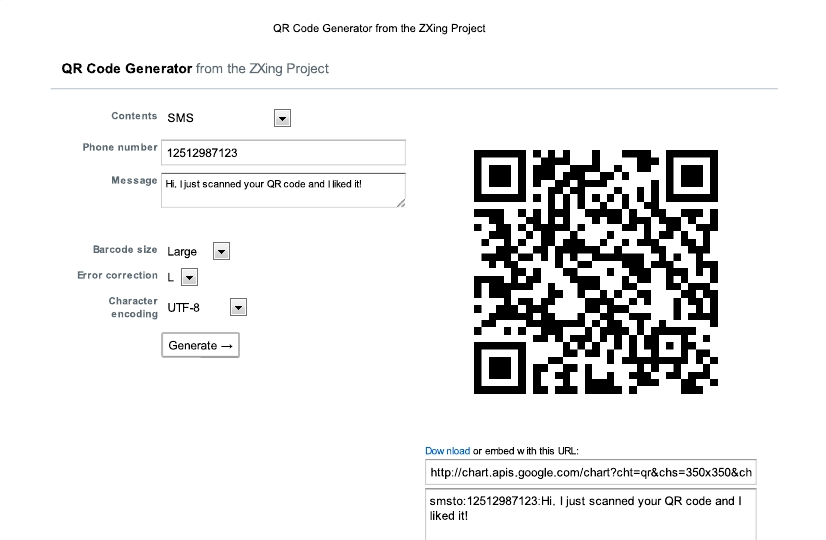 9 faces of the QR - SMS - Screenshot