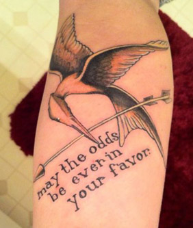 Tattoo Designs - The Hunger Games - Mockingjay with quote