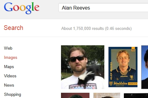 1st on Google - The Search for Alan Reeves - Week 36 - First on Google image search