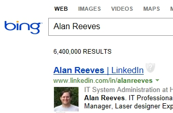 The Search for Alan Reeves - 1st on Google - Week 37 - #1 on Bing