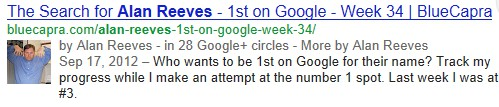 Alan Reeves - 1st on Google - Search results