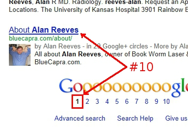 Alan Reeves - 1st on Google - Week 47 - First page