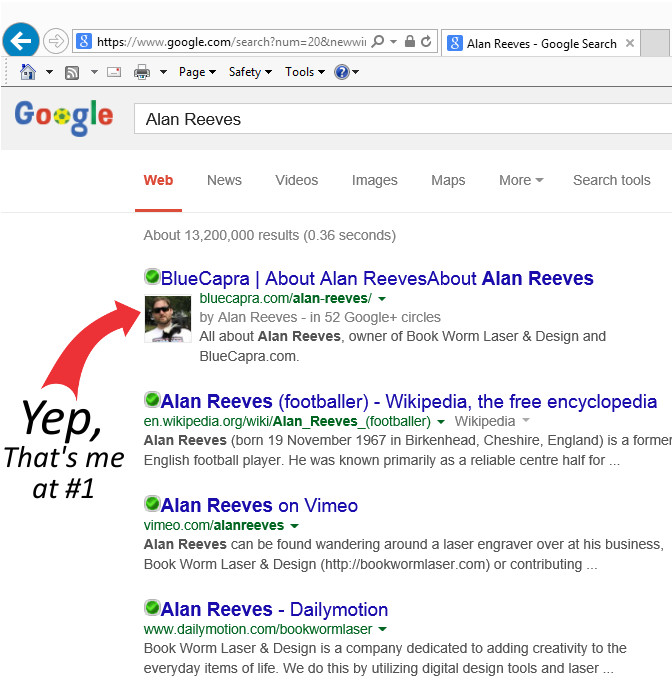 Where's Alan Reeves? – Getting To 1st On Google – Week 126 - At last, 1st on Google!!!!!
