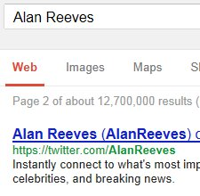 Alan Reeves - 1st on Google - Week 48 - Twitter