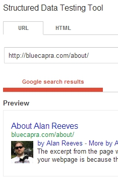The Search for Alan Reeves - 1st on Google - Week 51 - Google Rich Snippet Tool results