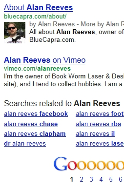 The Search for Alan Reeves - 1st on Google - 2 front page results