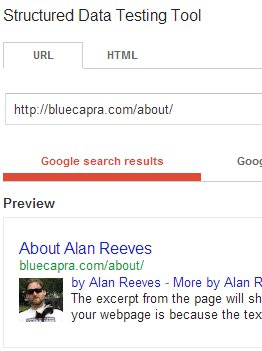 The Search for Alan Reeves - 1st on Google - Week 54 - Rich Snippet result for my About Page (#9 on Google)