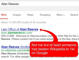 The Search for Alan Reeves - 1st on Google - Week 63 - A new hope... someone has beaten Wikipedia to the 1st spot
