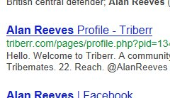 The Search for Alan Reeves - 1st on Google - Week 67 - Triberr profile at #4