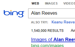 The Search for Alan Reeves - 1st on Google - Week 77 - Bing