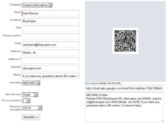 Getting Started with QR codes - Creating a QR code online with ZXing - Alan Reeves's QR code