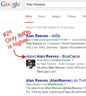 Where's Alan Reeves? - Getting to 1st on Google - Week 106 - #2 on Google