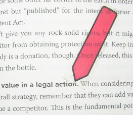 Image showing a small adhesive flag marking an important passage in a book